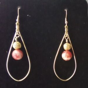 Red Sea Jasper & Gold Hoop Earrings.